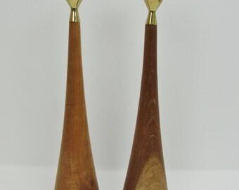Danish modern teak and brass candle stick pair