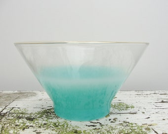 Vintage Large West Virginia Glass Blue Blendo bowl