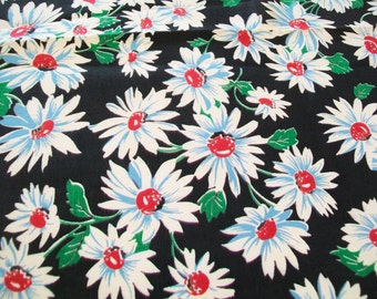 SALE - 1940s Daisies on Black Background Cotton Fabric, 1 yard, unused