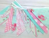 Baby Bunting, Fabric Banner, Wedding, Baby Shower, Shabby Chic, Nursery Decor, Cake Smash - Pink, Aqua Blue, Shabby Chic, Flowers, Roses