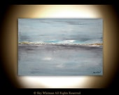 Large Original Blue 24 x 36 Abstract Landscape Painting Modern Contemporary Art Seascape Oil Painting by Sky Whitman