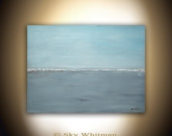 Original Large Painting 30 x 40 Modern Contemporary Art Landscape Abstract Handmade Gray Blue Wall Art Oil Painting by Sky Whitman