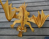 Gold Hsoulder dragon wearable dragon OOAK