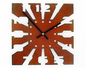 Sawblade I, Medium, Rustic Wall Clock, Unique Wall Clock, Modern Wall Clock, Steampunk Home Decor, Industrial Metal Art, Laser Cut Gift