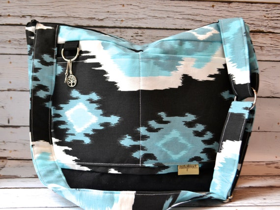 diaper bag lightweight turquoise black ikat print by darbymack. Black Bedroom Furniture Sets. Home Design Ideas