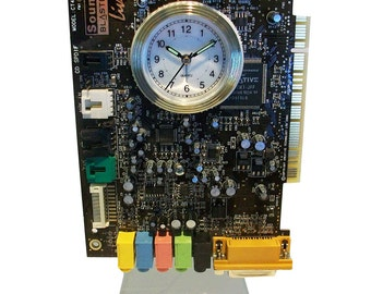"""Alarm Clock from Recycled """"Sound Blaster"""" Circuit Board. Got Geek Gift? FREE SHIPPING USA!"""