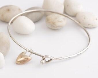 Handmade Bronze Heart on Silver Knot Remember Me Bracelet