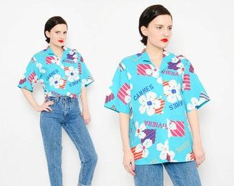 BOLD 80s Aqua Tropical Shirt Vacation Font Cotton Novelty Print Top New Wave Button Up Short Sleeve Blouse Medium Large S M L