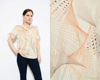 Vintage 70s Cream GEOMETRIC Line Drawing Graphic Print Shirt 1970s Disco Short Sleeve Knit Top Small Medium S M