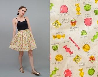 Vintage Inspired 50s Mini Skirt Retro CANDY Print High Waist 1950s Novelty Print Cotton Full Skirt Medium Large M L