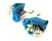 LetsPartySale Blue flower fiber earrings, statement fiber earrings, her birthday gift fiber earrings