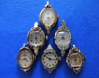 6 Lot Old Vintage Watch Faces Cases Wrist Watch Heads For Steampunk Jewelry Making Projects