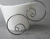 Oxidized Spiral Hoop Earrings, Dark Silver Spiral Earrings, Sterling Silver Wire Spirals, Silver Wire Earrings, Minimalist Spiral Hoops