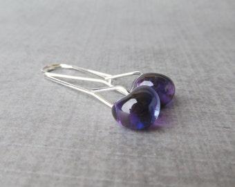 Purple Grape Earrings, Minimalist Earrings, Purple Lampwork Earrings, Purple Earrings, Purple Dangle Earrings, Sterling Silver Wire Earrings