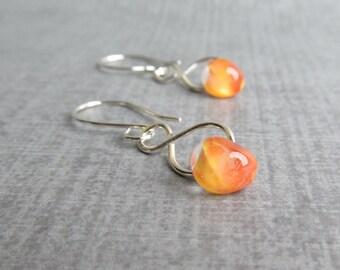 Marigold Orange Dangles, Orange Earrings, Lampwork Earrings Orange Glass, Silver Infinity Wire Earring, Sterling Silver Earrings, Glass Drop