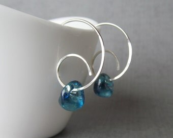 Blueberry Spiral Earrings, Minimalist Spiral Hoop Earrings, Lampwork Earrings, Blue Earrings, Modern Spirals, Sterling Silver Spiral Hoops