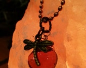 Dragonfly in Amber necklace, Outlander inspired