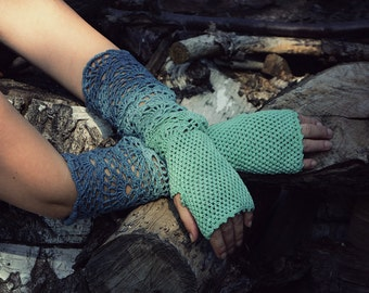 From Aquamarine to Teal -ombre hand dyed crocheted extra long multicolored wrist warmers mittens fingerless gloves hippie boho