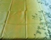 Green White Furoshiki Wrapping Cloth With Black Flower Design 一