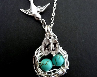 Custom 2 Initials - Bird Nest with 2 Turquoise Eggs, Sparrow Bird Necklace in Sterling Silver Chain