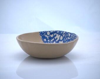 Serving bowl, handmade pottery , serving bowl blue floral