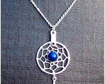 ON SALE Dream catcher necklace silver with lapis ,Handmade Necklace silver with Lapis