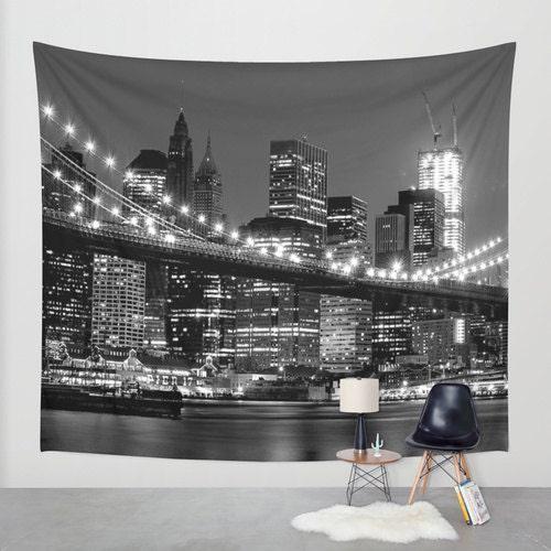 New York Wall Tapestry New York Tapestry City Tapestry Night