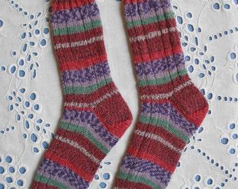 Ladies Hand Knit Socks Women Medium Size, Superwash Opal Wool Yarn