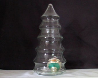 1 Large  Vintage CHRISTMAS TREE  GLASS Apothecary Jar