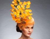 Orange fascinator, Orange Derby hat, Cocktail hat, Kentucy derby hat, Melbourne cup hat, Royal Ascot Hat