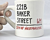 Sherlock Holmes, coffee mug, tea cup, diner mug, black, white, red, Baker Street, london, quote mug, personalized, left handed, literature