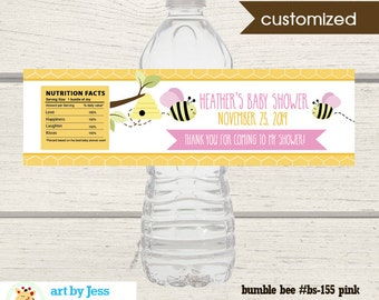 Bumble Bee Water Bottle Labels / Girl Baby Shower Favors / Pink Wings / Printable Favors Print your Own bs-155