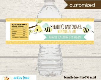 Bumble Bee Water Bottle Labels / Gender Neutral Baby Shower Favors / Mint Green Bee / Printable Print your Own bs-156