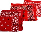 Lot of 3 Red Rockabilly Southwest Collectible Vintage Tower Cotton Fast Color Bandanas - #B17