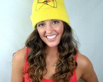 Vintage Yellow Knit Winter Ski Slopes Pom Hat
