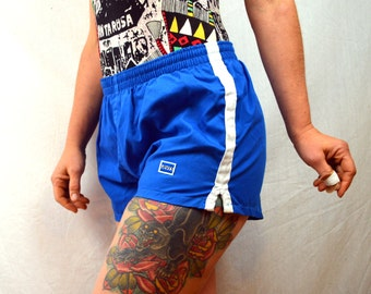 Vintage 80s Levis Mini Track Blue Striped Sports Gym Shorts