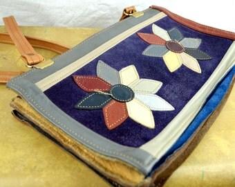 Vintage 80s Rainbow Patchwork Leather Bag Purse