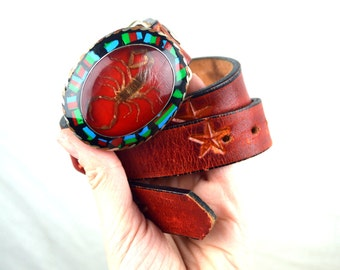 Super Cool Vintage Western Scorpion Desert Leather Star Belt and Buckle