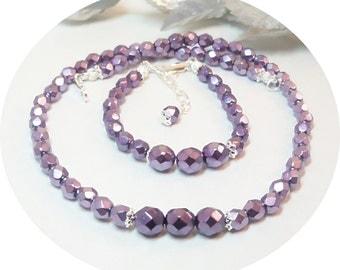 Purple Jewelry, Flower Girl Jewelry, Kids Jewelry, Necklace and Bracelet, Lilac Jewelry, Purple Necklace, Purple Bracelet, Toddler Jewelry