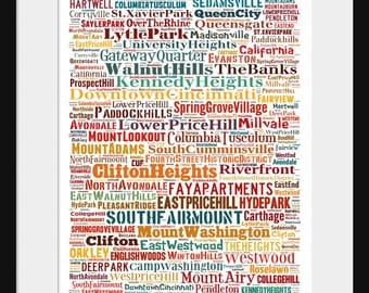 Cincinnati Map - Typography Neighborhoods of Cincinnati Print