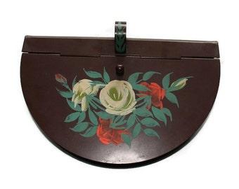 Vintage Silent Butler Receiver Brown Toleware Bread Crumber Floral Pattern