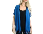 Boho kimono jacket, cobalt blue cotton Jersey fringe kimono-blue kimono cardigan with fringes, 2016 summer collection-Introductory price