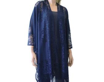 Navy Blue Bohemian Lace Kimono cardigan-Dark blue fringe kimono- kimono-Oversize kimono