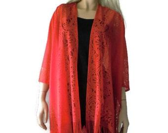 True red Bohemian Lace Kimono cardigan-Red fringe kimono- kimono-Oversize kimono