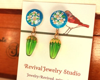 Floral Blue and Green Drop Earrings
