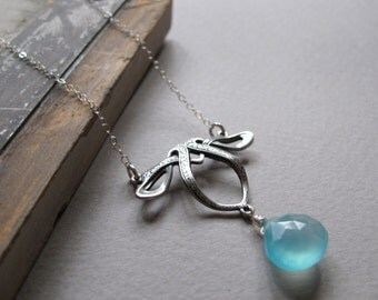 Aqua Blue Teardrop, Chalcedony Gemstone Pendant, Sterling Silver Celtic Necklace  - LAGUNA