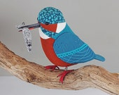 FABRIC BIRD - Kingfisher with Fish - Made to Order