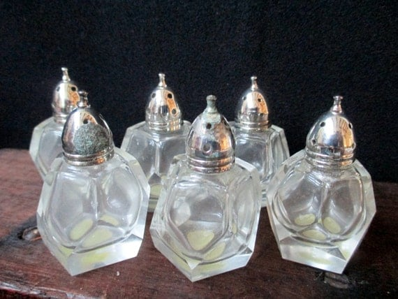 Vintage Crystal Individual Salt and Pepper Shakers, set of six, FB Rogers Silver Company, Hexagon Shape