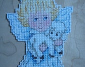 Reserved for kathyhod ****** Cross stitched ANGELIC ANGEL with Lamb Christmas Ornament