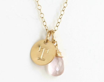 Gold Initial and Birthstone Necklace / October Birthstone Necklace / Personalized Initial Charm Necklace / Push Present New Mom